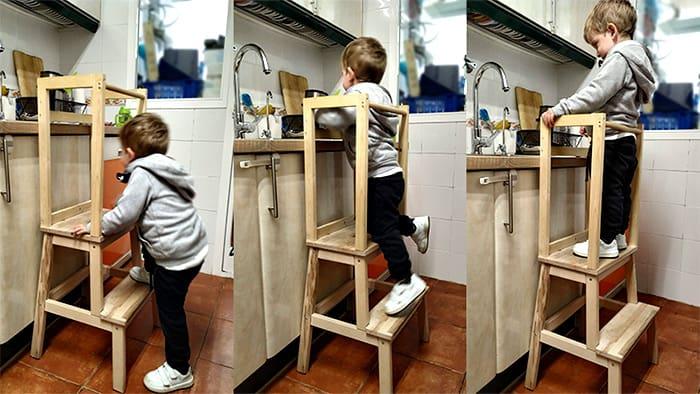 usando la torre en la cocina